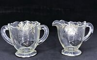 Vintage Floral Silver Overlay Glass Creamer and Sugar Bowl