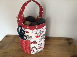Handmade Storage Tub Basket Craft Knitting Bag Cath Kidston Cherry Red Spot