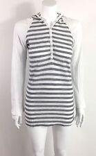 Splendid Long Sleeve Hooded Tunic Shirt Waffle Knit Gray & White Stripe Size L