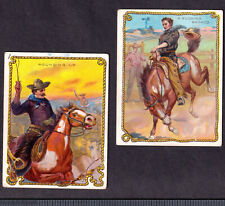 Bucking Bronco Horse 2x 1910 Hassan Cigarette Cowboy Series T53 Tobacco Cards