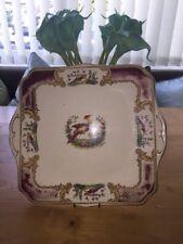 Myotts Royal Crown Square Handled Cake Plate - Chelsea Bird - Used