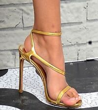 Stuart Weitzman Sultry Strappy Sandals Sz 10  in Gold NWOB