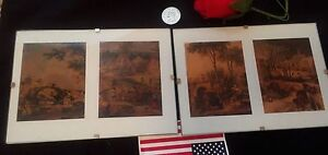 """Primitive Folk Art Copper Drawing Pair Medieval Life Style Settings 7""""x 5"""" Mount"""