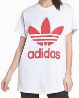 Adidas NEW White Women's Size Small S Trefoil Knit Originals Tee Shirt $40- #110
