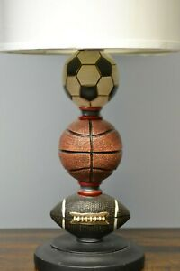 Sports Football Basketball and Soccer Table Desk Lamp White Shade