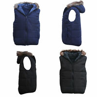 Unisex Women's Men's Faux Fur Hooded Puffy Puffer Sleeveless Vest Quilted Jacket