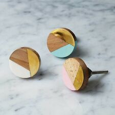 Pink Resin, Wood & Gold Brass Mixed Media Knob Drawer Handle Cabinet Bombay Duck