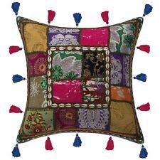 "16"" Indian Cushion Sofa Cover Ikat Kantha Vantage Patchwork Bohemian Dorm 16''"