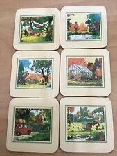Vintage Clover Leaf Coasters Novelty Set 6
