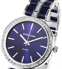 Damen Armbanduhr Blau/silber Crystalbesatz Metallarmband Von Excellanc 1526/04