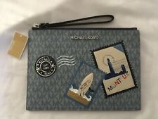 MICHAEL KORS MONTAUK PALE BLUE MLT LEATHER XL ZIP CLUTCH WRISTLET NEW WITH TAGS