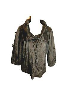 Chicos Dark Brown Metallic Lightweight Short Jacket Stand Up Collar Size 2