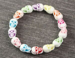 SKULL Multicolor Stretch Bracelet 13mm Acrylic Beads Halloween Day of the Dead
