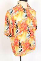 Vintage Japan Japanese ANIME 100% Rayon Hawaiian Shirt Mens Size Medium
