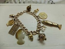 Vintage Asian 18 K 14 K Yellow Gold Charm Bracelet Abacus Articulated Carp