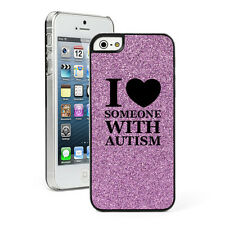 For Apple iPhone 4 4S 5 5S 5c GLITTER Bling Case I Love Someone With Autism