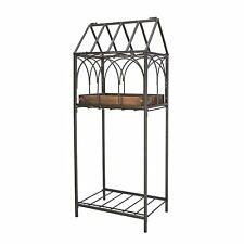 "32.5""H Terrarium Plant Stand with Copper Finish Insert & Shelf, Black Frame New"