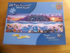 "Masterpiece Jigsaw Puzzle 500 Pc Panoramic 12"" x 36"" TROPIC DOLPHINS Complete"