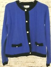 Vintage Pappagallo Lambswool Angora Velvet Trim Royal Blue Cardigan Sweater S
