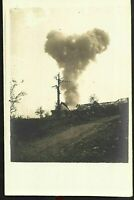 WW1 FRONT EXPLOSION OBUS CANNON WAR MILITARY ANTIQUE RPPC PHOTO POSTCARD PC