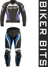 Tute in pelle e altri tessuti blu da corsa per motociclista