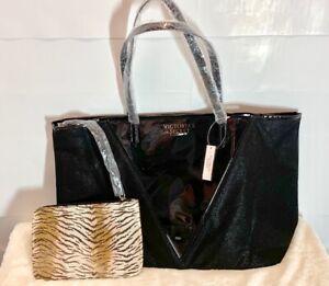Victoria's Secret Large Black Tote Bag & Tiger Print Wristlet 2 PC Set New