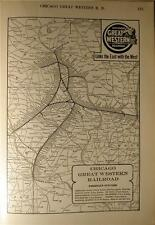 DATED 1920 CHICAGO GREAT WESTERN RR RAILROAD SYSTEM MAP ILLINOIS DEPOT HISTORY