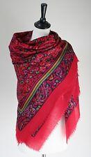 Vintage wool shawl - Red paisley pattern - 1980s - Large