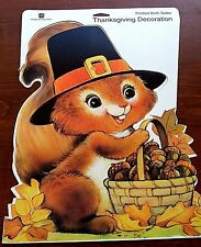 VINTAGE AMERICAN GREETING CARDBOARD SQUIRREL ACORN THANKSGIVING FALL WALL POSTER
