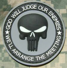 PUNISHER GLOW GOD WILL JUDGE OUR ENEMIES PVC ACU VELCRO® BRAND FASTENER PATCH