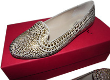 $895 Valentino Microstudded Flat Smoking Slipper Gold Rockstudded Shoe 35.5-5.5