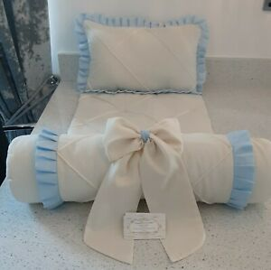 Crib Bedding Ivory with Baby Blue Ruffles  Handmade Pintuck Style Complete Set