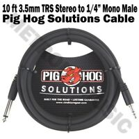 """Pig Hog 10 ft 3.5mm 1/8"""" TRS Stereo Male to 1/4"""" Mono Male Cable Adapter NEW"""