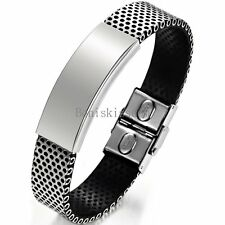 Men's Stainless Steel Mesh Chain Black Leather Bracelet Cuff Bangle Wristband