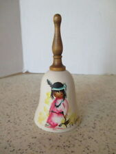 """Vintage Pottery Bell, By """"DeGrazia"""", Signed By Artist, Little Indian Girl, U.S.A"""