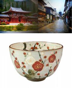 Kyo Kiyomizu Ware Pottery Plum Blossoms in Kyoto Matcha Tea Bowl Japan Tracking