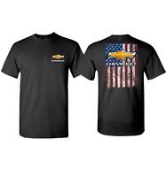 Chevrolet T-Shirt - Black w/ Bowtie Distressed American Flag Emblem / Logo
