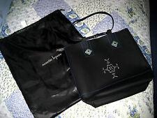 Nanette Lepore Black Leather Sapphire Blue Pinkette Hand bag Tote Purse Dust Bag