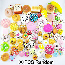 Cheap 30pcs Random Squishy Charms Soft Cake Bread Cellphone Straps Accessory