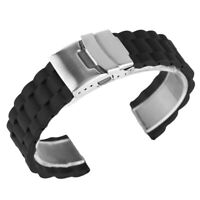 20/22mm Black Silicone Watch Strap Watch Band Replacement Wrist Bracelet
