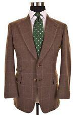 Paul Stuart Brown Check TWEED Wool Ticket Pocket Sport Coat Jacket Blazer 38 S