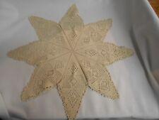 "vintage ecru dark tan crochet crocheted star design doilie 18"""