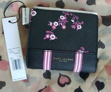 Marc Jacobs Floral Bifold Wallet Saffiano Pvc New Black Multi New Authentic