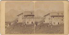 Suisse Mürren Stéréo Vintage albumine ca 1875