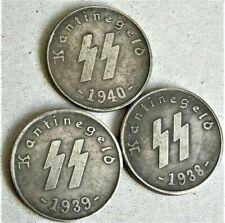 1938/40 WW2 SET OF 3 GERMAN SS COLLECTOR COINS 50 PFENNIG KANTINEGELD