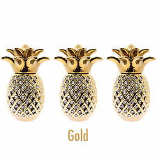 PINEAPPLE JARS GOLD SET OF 3 SUGAR COFFEE BISCUIT ROMANY ORNAMENT GIFT STORAGE