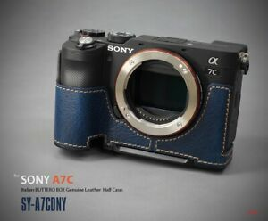 LIM'S Genuine Leather Camera Half Case & Dovetail Plate For Sony A7C Case Navy