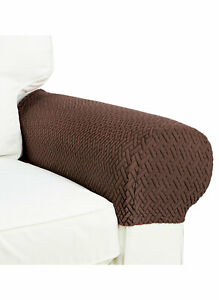 Armrest Covers Stretchy Set Chair or Sofa Arm Protectors Costa Brown-2 Pieces