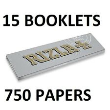 15 X RIZLA  SUPER THIN SILVER BOOKLETS, REGULAR, 750 PAPERS, TOBACCO, CIGARETTE