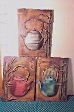 Decorative Wall Plaques,(3), Asian Design Teapots, Signed S Vassileva, Resin